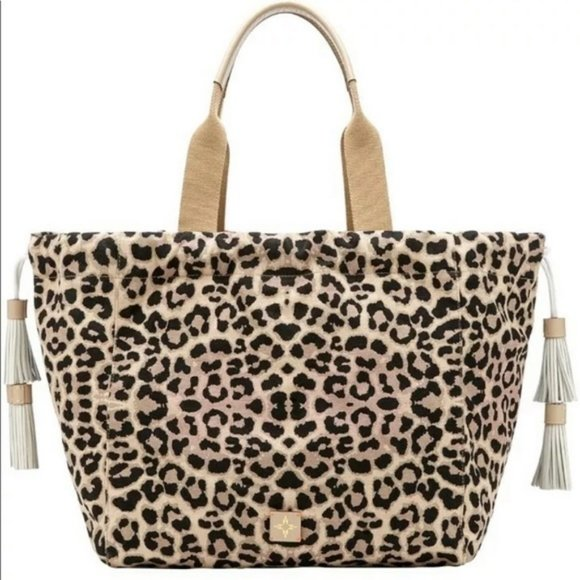 India Hicks Fortune Tote - Sleeping Leopard - New